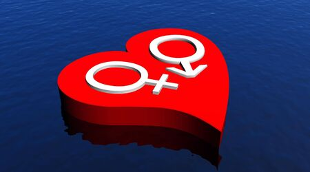 Heterosexual couple in red heart floating in the ocean photo