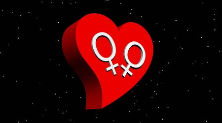 Lesbian couple in red heart in the night Stock Photo - 5775973