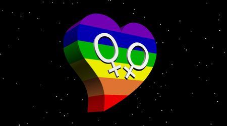 Lesbian couple in rainbow color heart in stary night Stock Photo - 5775958