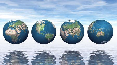 erde gelb: Kontinente auf vier Erden Lizenzfreie Bilder