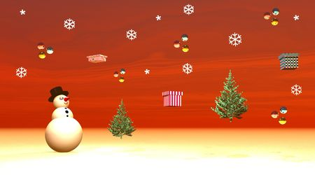 Snowman looking at gifts, balls and fir trees flying in the sky photo