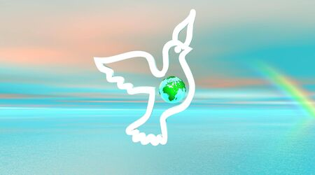 White dove flying with earth inside photo