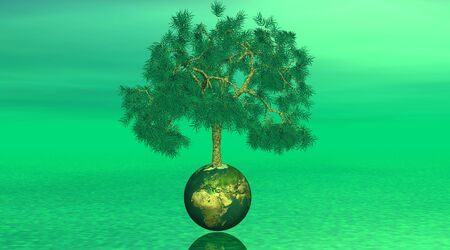 Tree on earth in green background photo