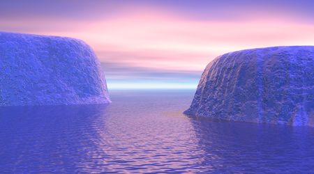 Icebergs by sunrise photo
