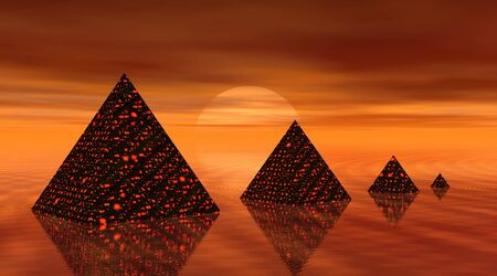 Four pyramids by sunset