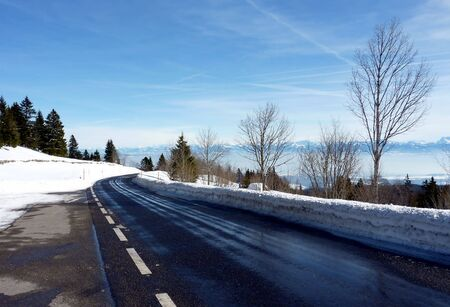 raod: View of the Alps from a road in the snowy mountain