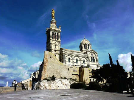 Basilica Notre-Dame-de-la-Garde, Marseilles, France, by beautiful weather Stock Photo
