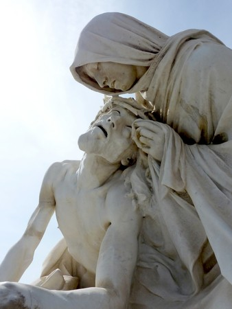 garde: Statue made of white stone of Jesus and Mary at Marseilles mext to Notre-Dame de la Garde basilic