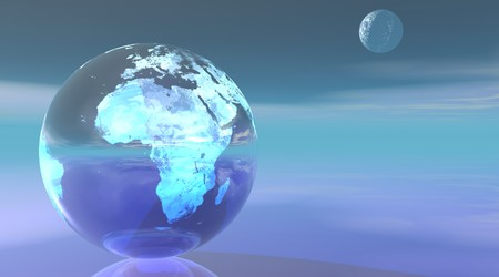 Earth planet with Europe and Africa continents and small moon in a beautiful blue surrounding photo