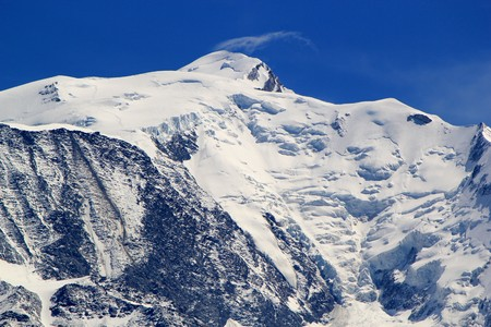 mont: Snowy peak in the Mont-Blanc massif mountain by beautiful weather, France