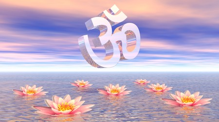 Metallic aum - om upon quiet ocean and several beautiful pink lotus flowers by sunset with pink clouds
