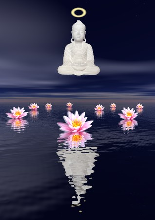 White statue of a Saint Buddha meditating upon the sea and several water lilies by night photo