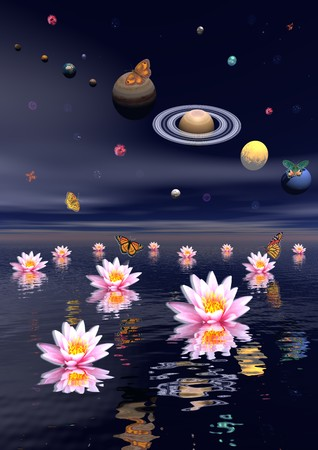 buddha lotus: Planets of the solar system surrounded by several nebulas, planets and flying butterflies upon the ocean covered with lotus flower Stock Photo