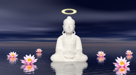 3d aum: White statue of a Saint Buddha meditating upon the sea and several water lilies by night Stock Photo