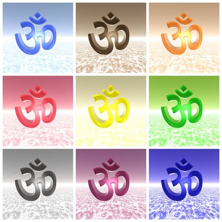 ohm symbol: Nine aum  om of different colors put together for a collage