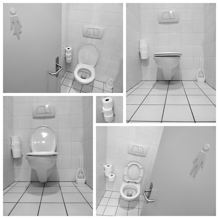 Black and white toilets for men and ladies collage photo