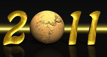 erde gelb: Gold neue Jahr 2011 mit einem gelben Erde anstelle von NULL in schwarzen Hintergrund mit einer gelben Linie