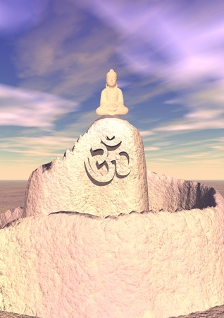 Small pink Buddha meditating at the top of a small mountain on which a aum  om is written photo