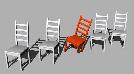 A falling red chair with one of its leg broken surrounded by very healthy grey chairs Stock Photo - 8285479
