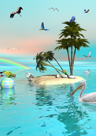 birds of paradise: Many different beautiful birds flying in the sky with a rainbow and swimming in the ocean next to a small island made of sand and with a palm tree Stock Photo
