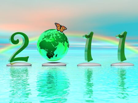 newcomer: Zen and peaceful 2011 with an earth instead of zero, a butterfly, stones and a beautiful rainbow Stock Photo
