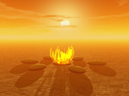 Fire surrounded by stones in the desert by sunset Stock Photo - 8510502