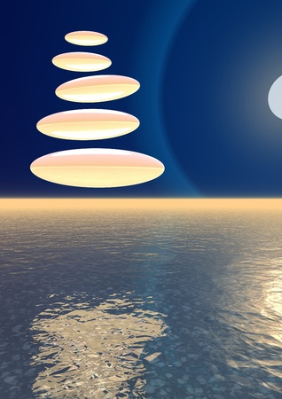 Orange stones in a deep blue sky upon the ocean and next to the moon by night photo
