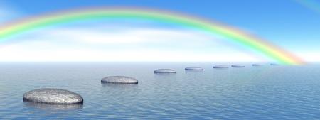 cerebro blanco y negro: Grey piedras pasos sobre el oc�ano que se va a un arco iris hermoso