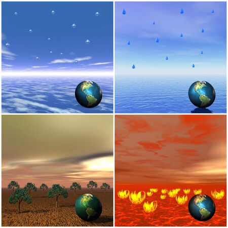Icons for four elements air, water, earth and fire with an eart in each photo