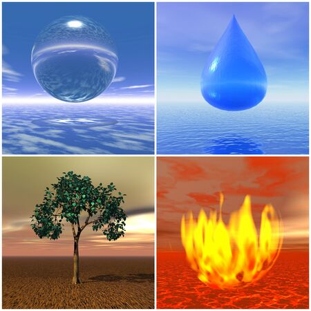 with sets of elements: Icones for four elements air, water, earth and fire