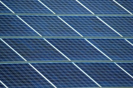 Close up of solar panels on a roof photo