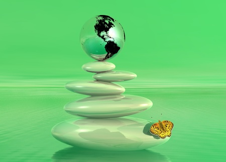 Earth on balanced white stones with a colored butterfly upon the ocean in a green background photo