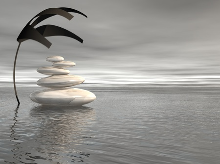 human mind: Piedras blancas equilibrados, en el oc�ano y en virtud de una planta de cobertura en un fondo gris