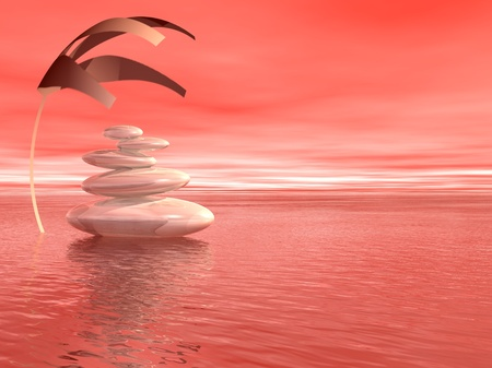 Balanced white stones upon the ocean and under a covering plant in a pink background photo