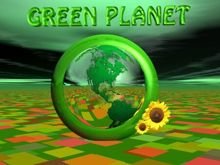 Green earth next to sunflowers and surrounded by green planet letters and colored ground Stock Photo - 8756265