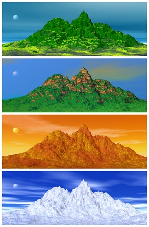 Landscapes of a mountain, the sky and the moon by spring, summer, autumn and winter time.