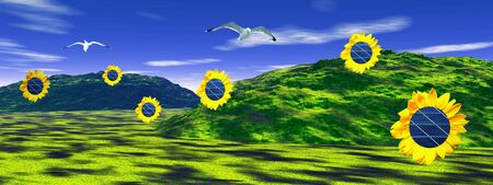 Sunflowers with solar panels inside in a beautiful green landscape with hills and birds