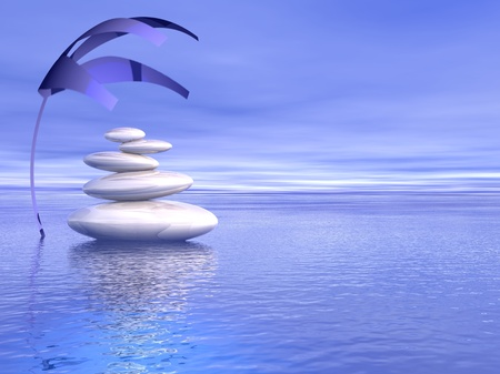 human mind: Balanced white stones upon the ocean and under a covering plant in a blue background