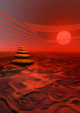 Balanced stones in the desert by colorful sunset photo