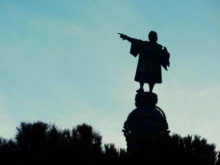 Shadow of Christopher Columbus Statue and blue sky, Barcelona, Spain photo