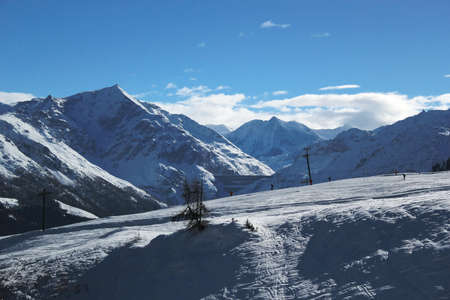 View of the Alps by beautiful sunny winter day, Switzerland photo