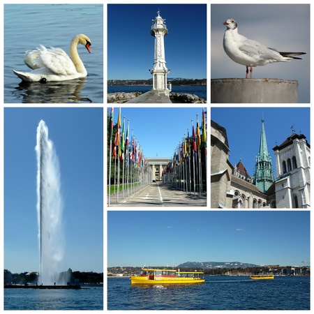 yellow boats: Swan, seagull, lighthouse, onu, Saint-Pierre cathedral, yellow boats and fountain for Geneva, Switzerland collage Stock Photo