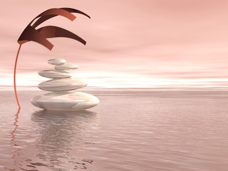 wellfare: Balanced white stones upon the ocean and under a covering plant in a pink background