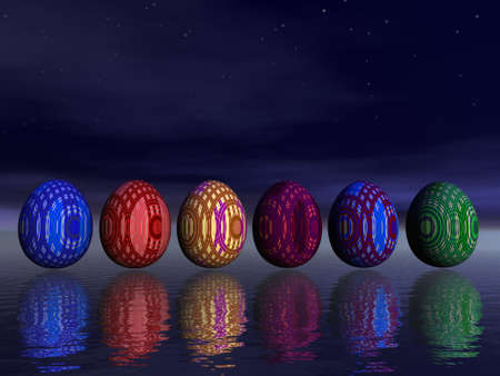Six colored eggs upon water by a beautiful night with stars photo