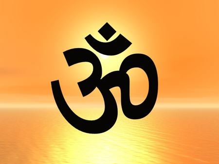 tibetan: Black aum  om in orange sunset background Stock Photo