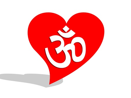 ohm symbol: White aum  om in a big red heart and its shadow in a white background