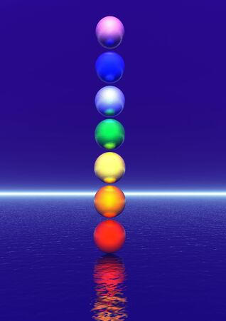 heart chakra red: Colored balls for a chakra column in blue background