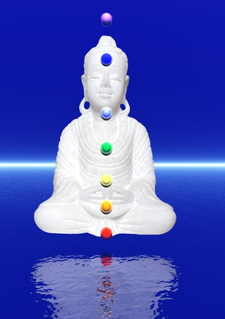 chakras: Peaceful white buddha in meditation upon the water and with colors chakra balls on his body