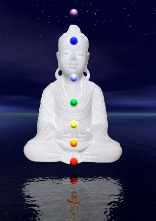 heart chakra red: Peaceful white buddha in meditation by night upon the water and with colors chakra balls on his body Stock Photo