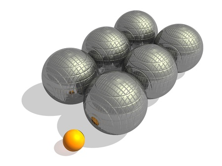 Six big metallic petanque balls and a small orange jack in a white background photo